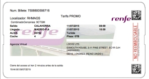 ticket to madrid